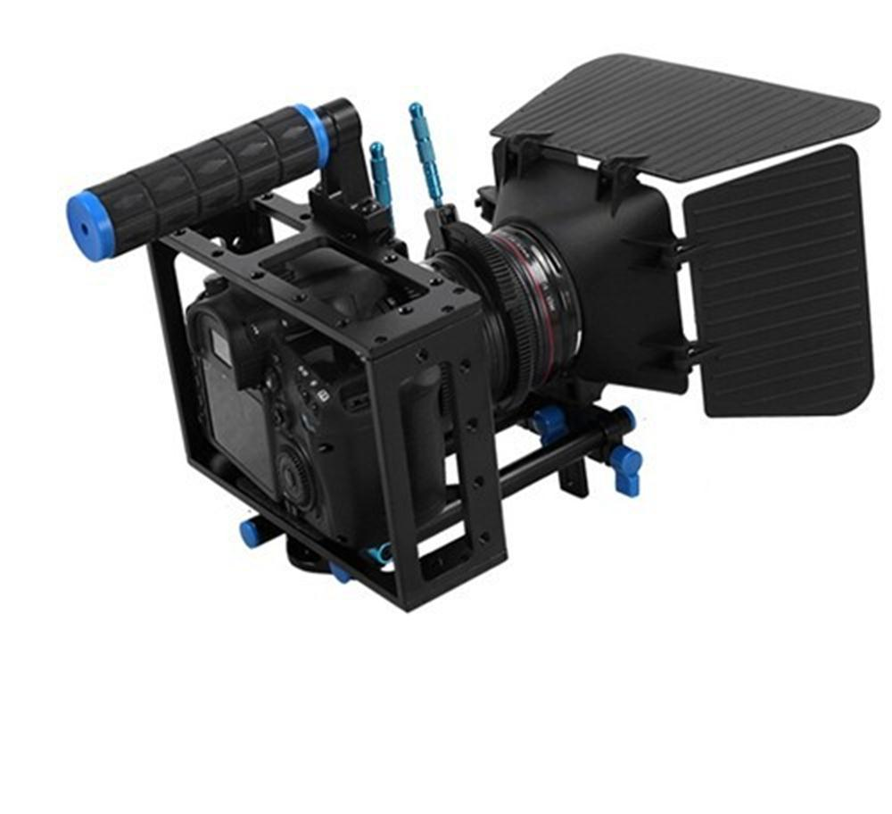 2 In 1 DSLR Rig Kit Matte Box DSLR Cage with Top Handle&15mm Aluminum Rod Block Plate for DSLR Cameras and Video Camcorders yelangu aluminum alloy camera video cage kit film system with video cage top handle grip matte box follow focus for dslr