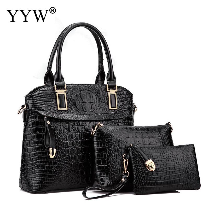 3 PCS/Set Alligator Pattern PU Leather Handbags Women Bag Set Tote Bag Lady's Shoulder Crossbody Bags Clutch Bag Womens'Pouch