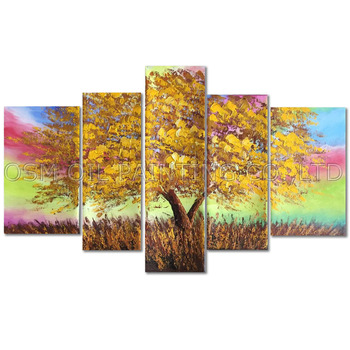 Professional Artist Handmade High Quality Abstract Tree Oil Painting on Canvas Rich Color Tree Oil Painting for Living Room