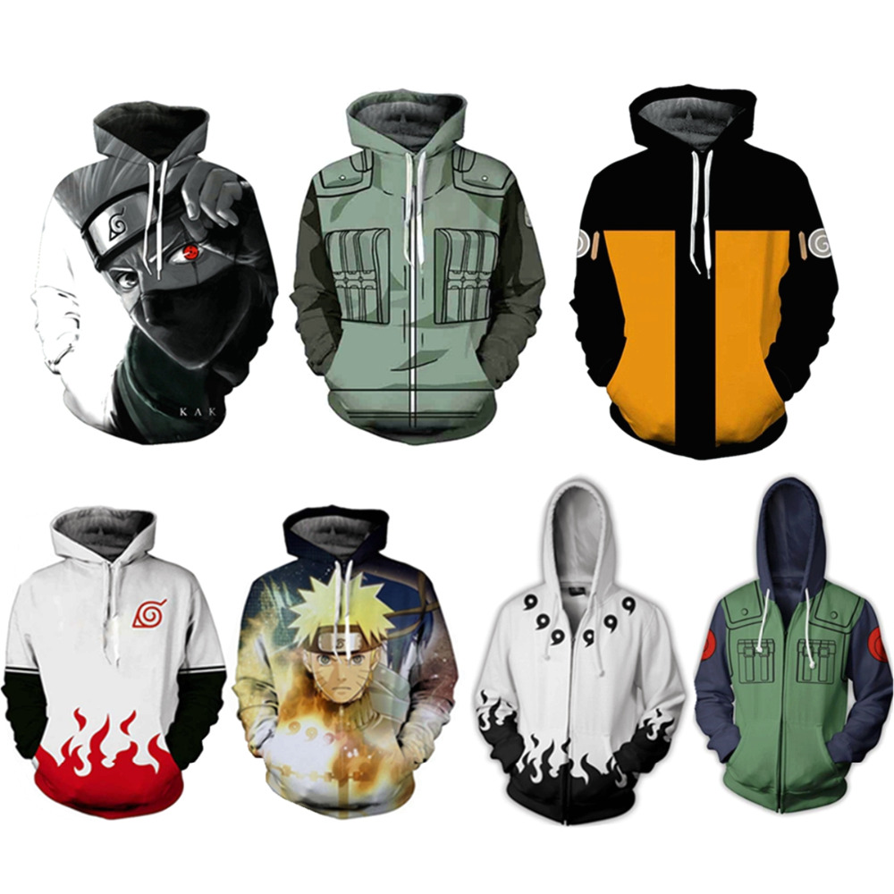 2018 Men Women Naruto Hoodies 3D Printed Pullovers Sportswear Sweatshirts Zip Jacket Hoodie Naruto Cosplay Long sleeve clothing