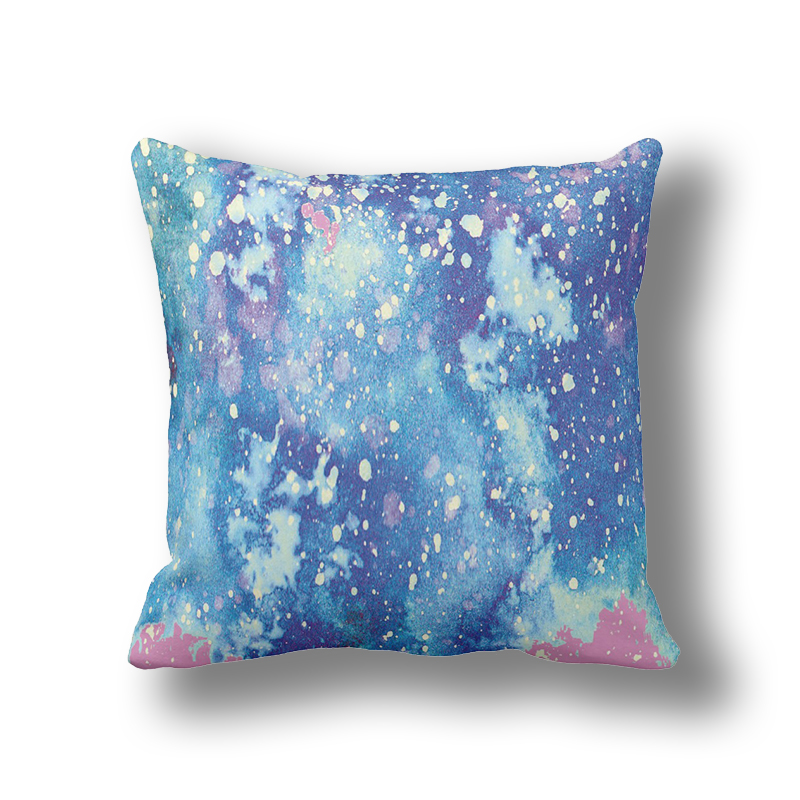 Psychedelic Blue Watercolor Cushion Covers,Galaxy Pillows Case,Square Accent Throw Pillows Cover for Couch Sofa A296