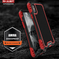 R JUST AMIRA Outdoor Shockproof Water Resistant TPU Carbon Fiber Metal Bumper Case Cover For IPhone