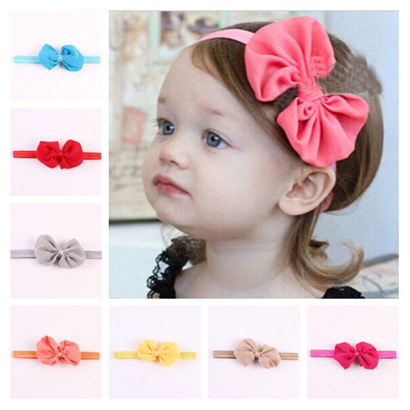 14pcs/lot Kids Chiffon Bowknot Headbands Girls Hair Bows Solid Color Elastic Hairband Newborn Girl Hair band accessories