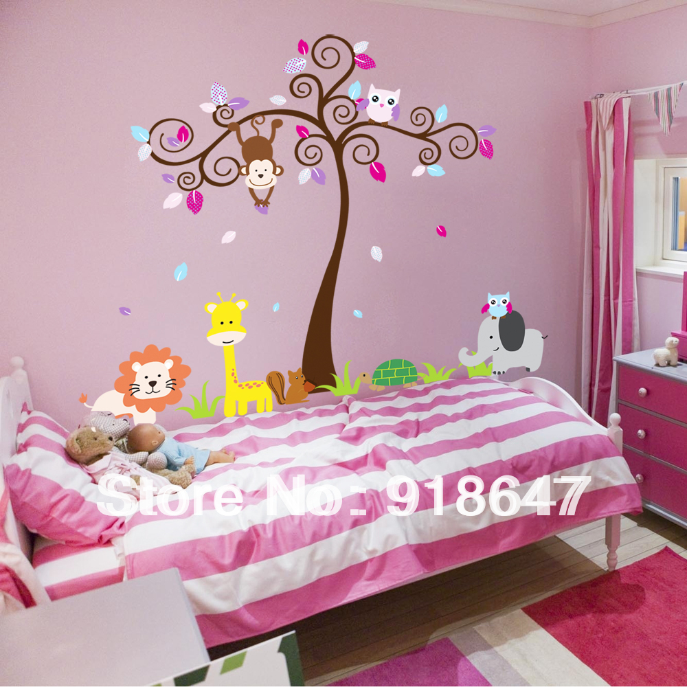 Stickers style picture more detailed picture about wholesale wholesale large wall stickers cute cartoon owl blooms dream nursery childrens room bedroom wallpaper removable wall amipublicfo Gallery