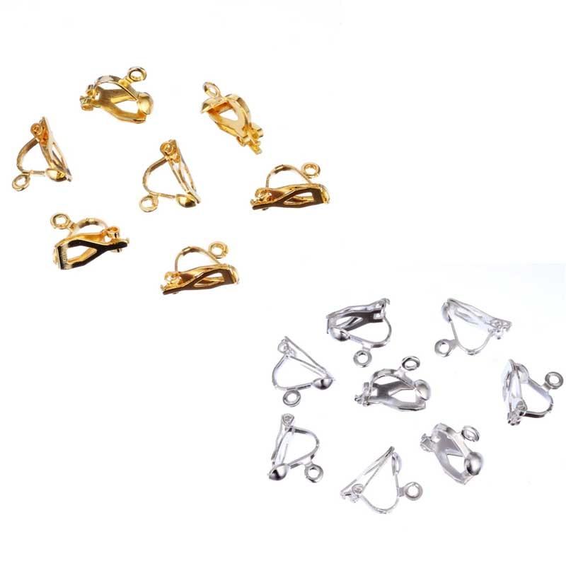 Sale 20Pcs/bag DIY Golden Silvery Earrings Clips New No Piercing Jewelry Accessories 10*13mm Ear Clips Wholesale