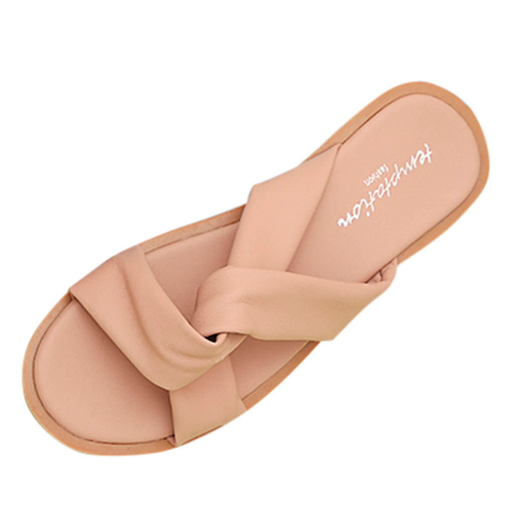 Jaycosin shoes Women Fashion Slippers Casual Summer Solid Color Beach Shoes Flat With Outdoor PU SlidesJaycosin shoes Women Fashion Slippers Casual Summer Solid Color Beach Shoes Flat With Outdoor PU Slides