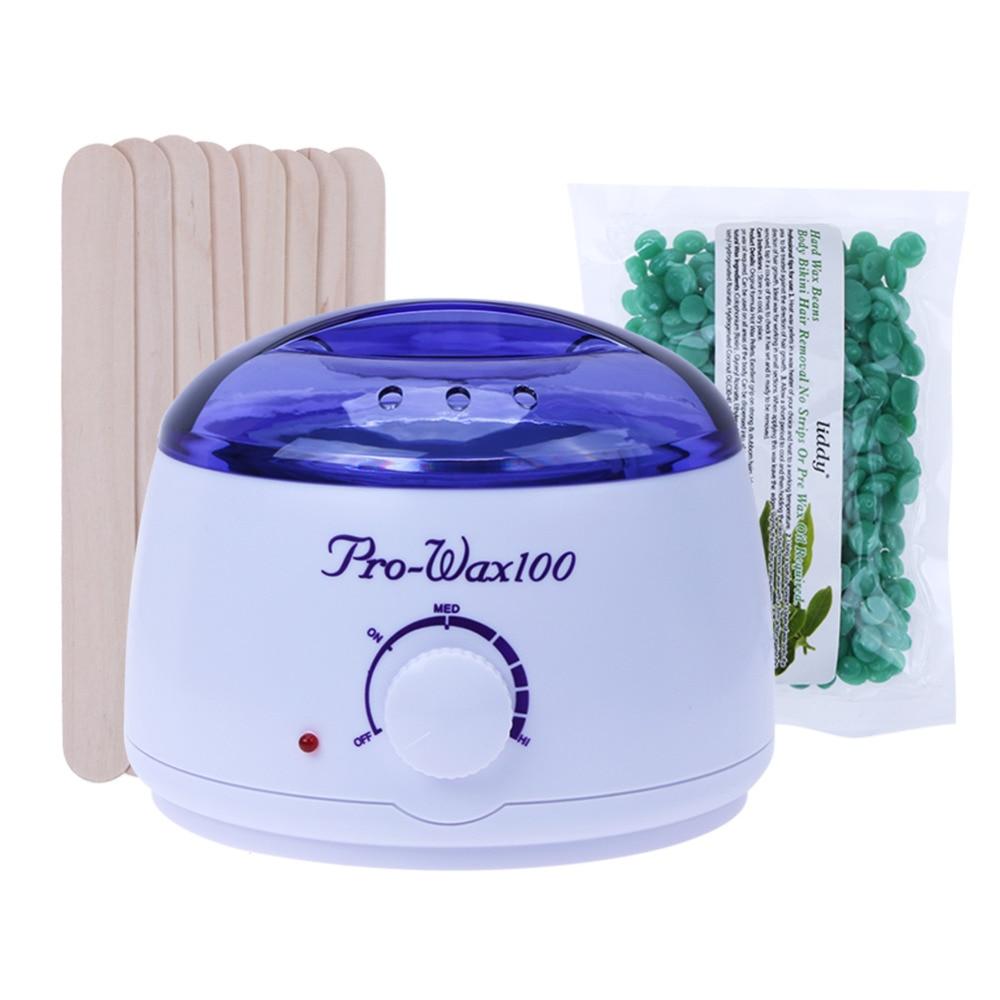 Wax Heater Machine Waxing Warmer 100g Wax Beans Hot Wax Heater 20pcs Stickers Hair Removal Sets