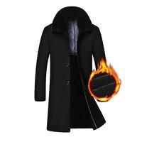 2018 Новый удлиненная Теплая плотная куртка Для мужчин Шерстяное пальто На зиму; высокого качества большой съемный меховой воротник пальто ч