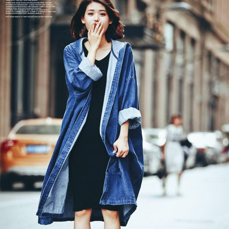 Cowboy   Trench   Coat Women Hooded Fashion 2019 Autumn Long Korean Casual Street Loose Oversize Duster Raincoat Outwear
