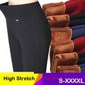 Femme Pantalon Cintura Alta Plus Size Femininas Calças Compridas Preto Azul Vermelho Mulheres Strech Calças de inverno calças quentes calças de Trabalho de Escritório