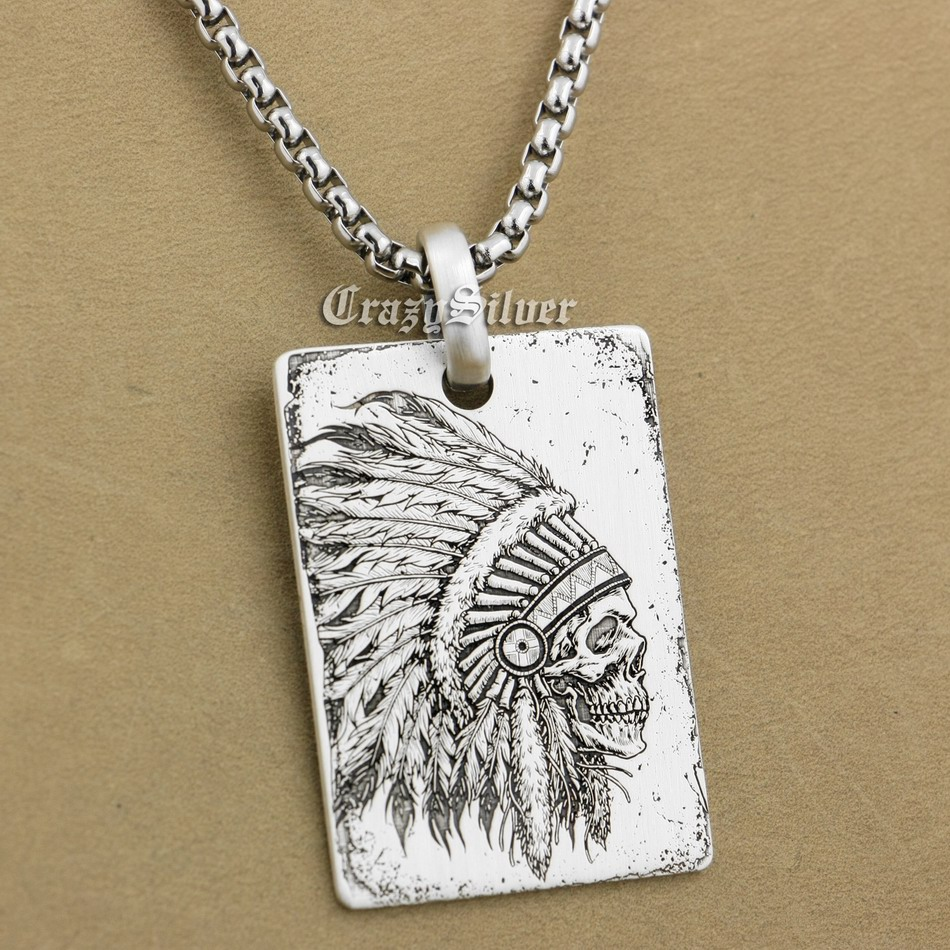 High Detail Deep Engraved 925 Sterling Silver Indian Chief Skull Dog Tag Mens Biker Rocker Punk Pendant 9X002 Steel Necklace 24 engraving service 316l stainless steel deep engraved skull cross mens biker rocker punk bangle cuff 5j122