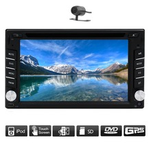 "Built-in GPS Navi HD TouchScreen Car Audio Radio Player 6.2"" Double 2DIN Car Stereo DVD Player Bluetooth iPod MP3 TV+CAMERA"