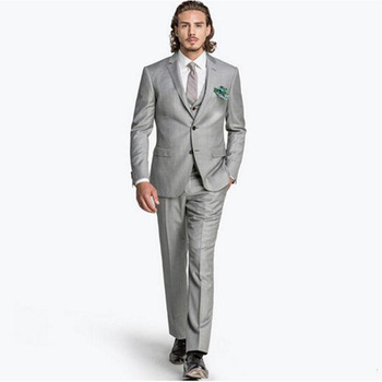 Custom Made Two Buttons Gray Men Suit Three Pieces Formal Wedding Party mens suits Slim Fit Groom Tuxedos (Jacket+Pants+Vest)