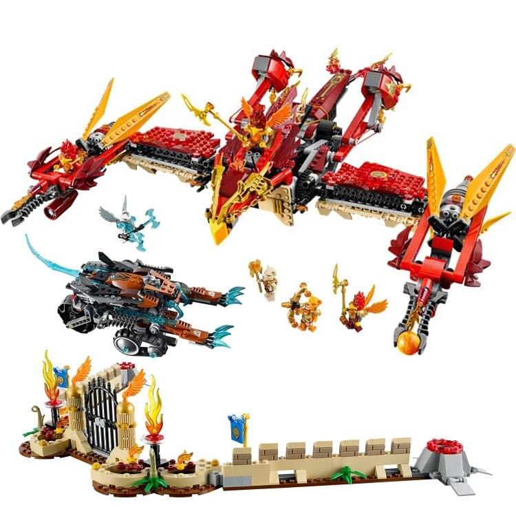 ФОТО 1300pcs BELA 10298 Flying Phoenix Fire Temple Building Blocks Action Brick 70146 Figures Toys