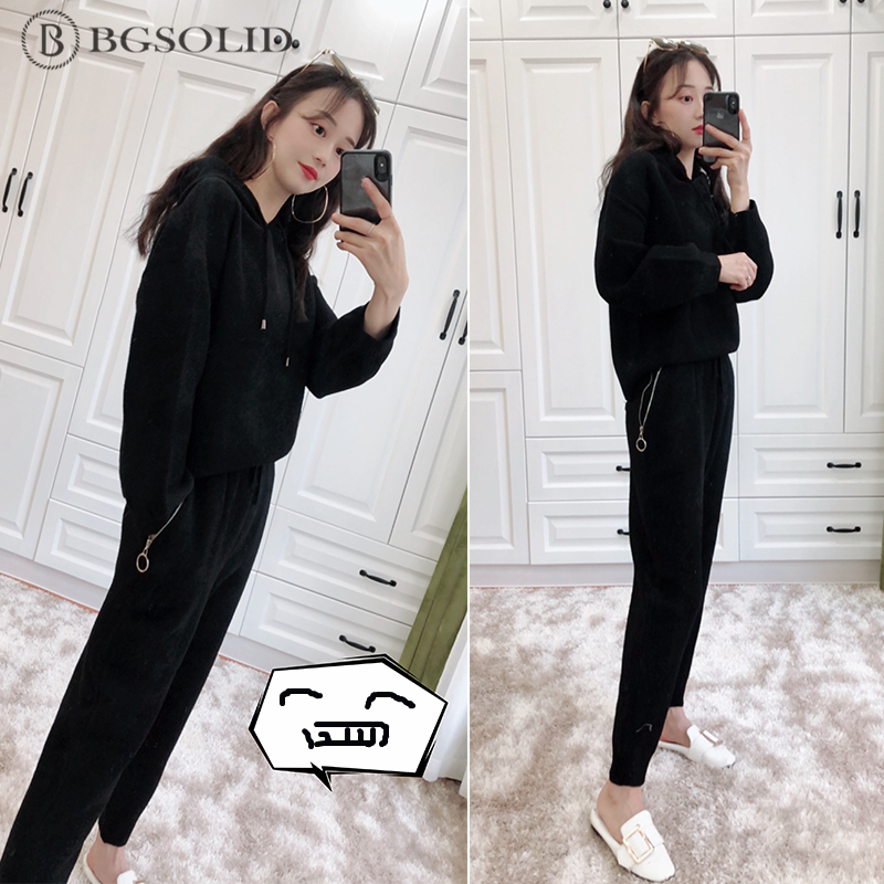 BGSOLID summer new loose casual mesh red knit women's hoodie + trousers Wholesale and dropshipping Pants are both welcomed