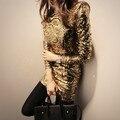 2016 новая зимняя мода сексуальный Корейский длинными рукавами Блесток тонкий пакет хип тонкий dress женский one piece золото серый выпускного вечера боди