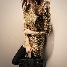 2016 neue wintermode sexy korean langärmelige pailletten schlanken Paket hip eine schlanke kleid female einem stück gold grau prom body