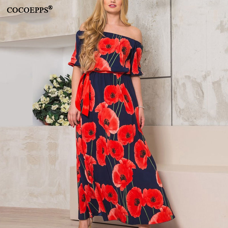dd2ca9c9b9e Summer Sexy Off Shoulder Maxi Dresses Big Size Vintage Floral Printed Women  Dress Plus Sizes Half Sleeve Slash Neck Vestidos 6XL-in Dresses from Women s  ...