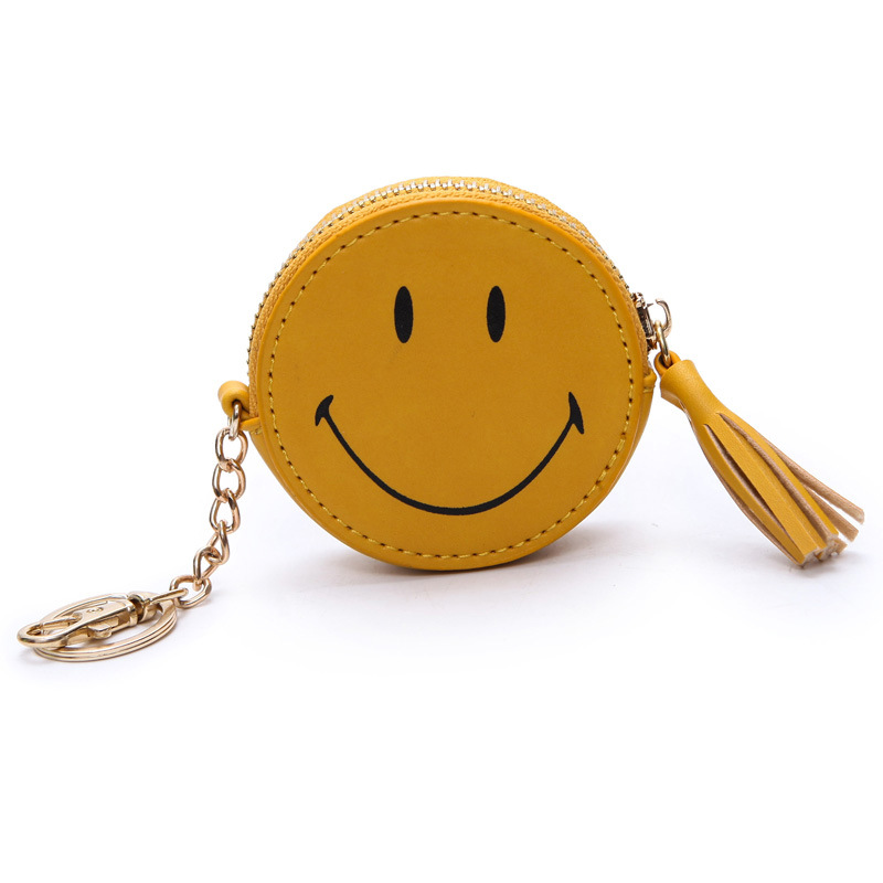 PACGOTH High Quality PVC waterproof emoji smile Cute Carton Purse summer zipper tassel boho Coin Purses Money bag with key chain cute smile faces high visibility