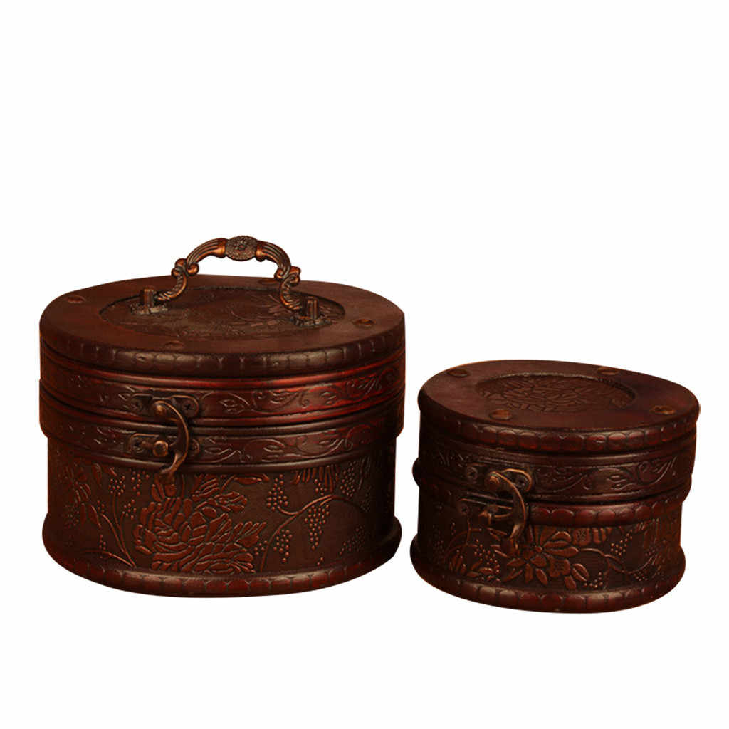 คลาสสิกทำด้วยมือเครื่องประดับกล่องเก็บ Vintage ไม้ล็อคสมบัติ Casket ผู้ถือต่างหู