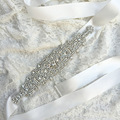 Luxury Clear Crystals Satin Wedding Belts Handmade Rhinestones Bridal Sashes Rhinestone Belt for Wedding Beaded Sash Belt