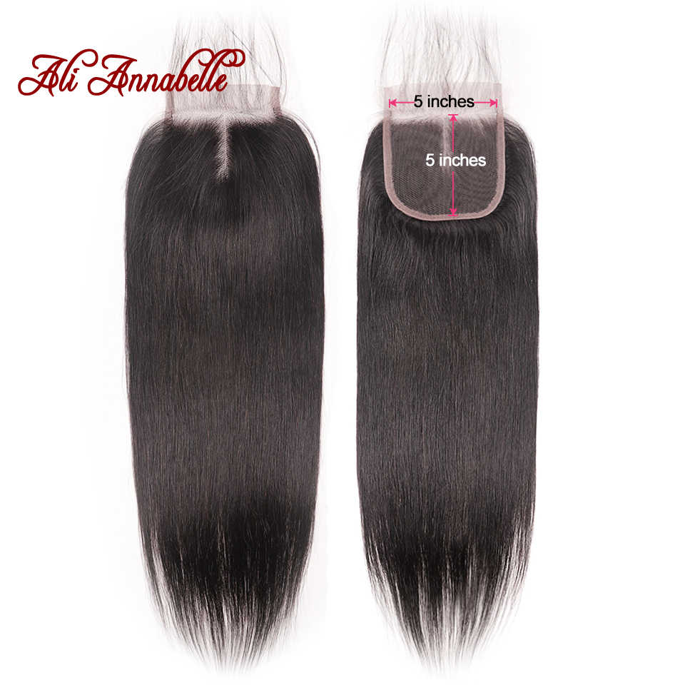 Peruvian Human Hair Straight 5*5 Swiss Lace Closure with Baby Hair Middle/ Free Part Lace Closure Remy 10-20 Inch Natural Color