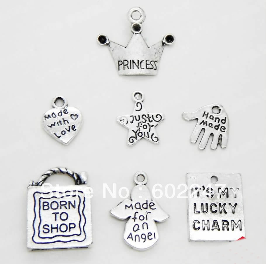 Wholesales Tibetan Silver Best Wishes Theme Charm Pendant Finding Bead Jewellery Making image