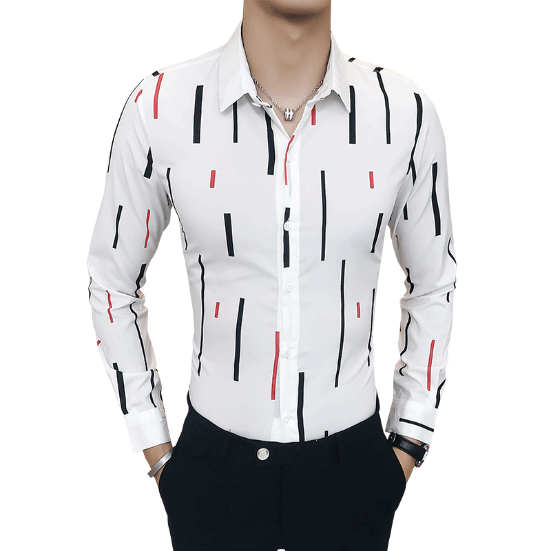 Autumn casual vertical striped shirt male long sleeved Korean version of the slim handsome trend hair stylist wild inch shirt in Casual Shirts from Men 39 s Clothing