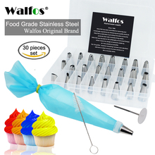 WALFOS 30pcs Cake Decorating tips set Stainless Steel Icing Piping tip Nozzles DIY  Baking tools Reusable Pastry bags Couple