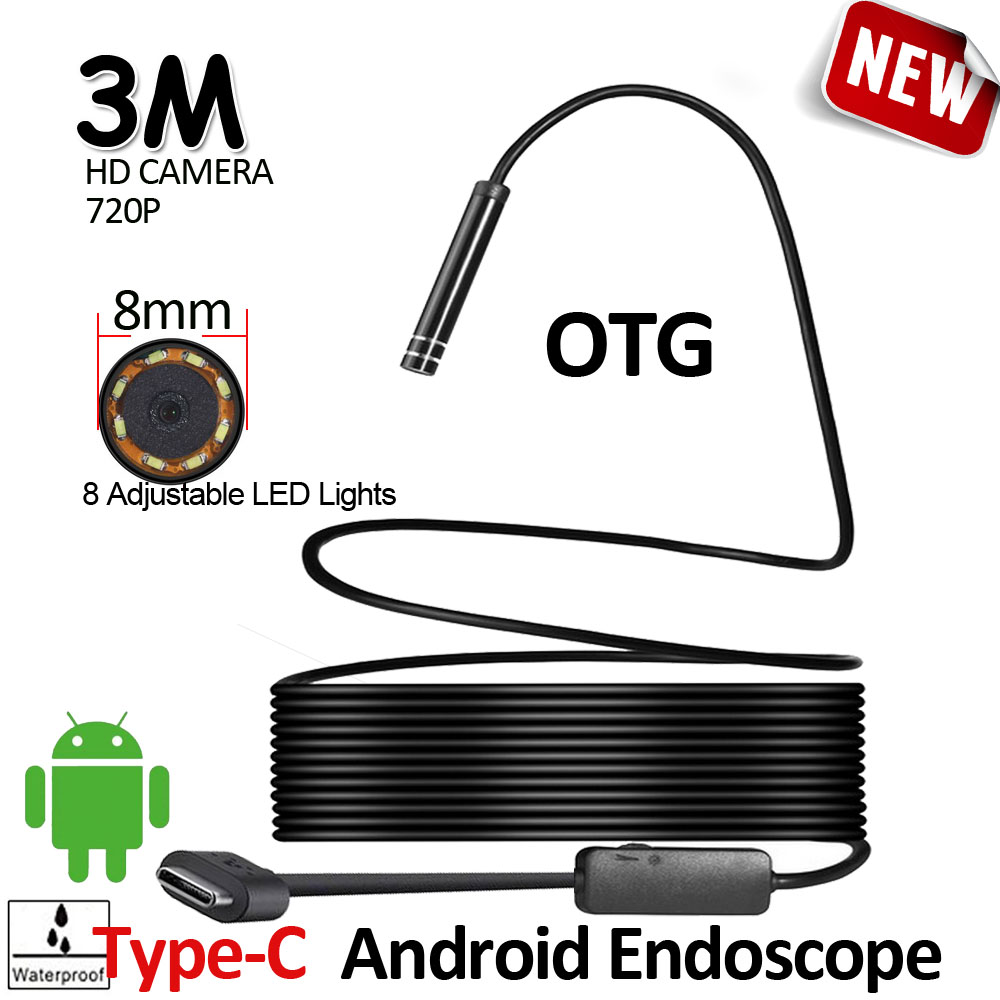 8LED 8mm HD720P 3M USB Type-C Android Endoscope Camera Flexible Snake Hard Wire/Cable USB TypeC Pipe Inspection Camera Borescope