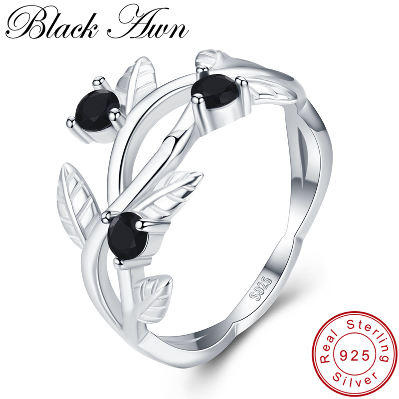 [BLACK AWN] 925 Sterling Silver Ring Olive Branch Trendy Wedding Rings For Women Female Bague Fine Jewelry G074