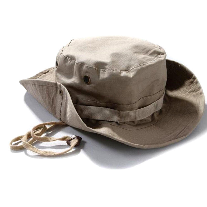 ca1f5f3780e69 Airsoft Tactical Men Camo Wide Brim Boonie Hat Outdoor Sports Bucket Cap  Military Camping Hiking Caps Mens-in Fishing Caps from Sports    Entertainment on ...