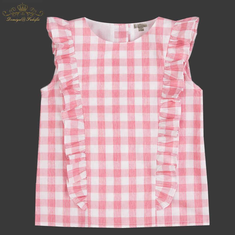 Girls 100% Cotton Plaid Tops Summer 2018 Brand Children T shirts Clothes For Kids Tee Shirt Fille Baby Clothing Infant Costumes 2pcs children outfit clothes kids baby girl off shoulder cotton ruffled sleeve tops striped t shirt blue denim jeans sunsuit set