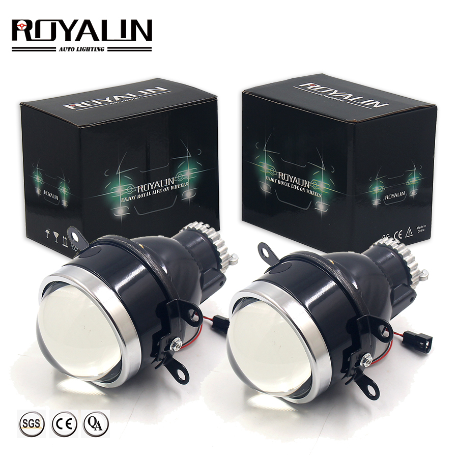 ROYALIN Car Metal Fog Lights Bi Xenon Lens H11 D2S D2H HID Projector Waterproof High Low Beam Bifocal Driving Lamps Retrofit DIY