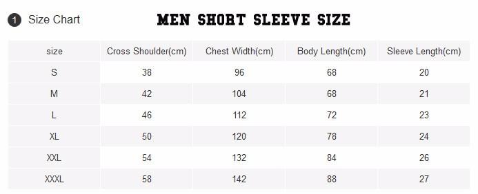 Men t shirt sizing
