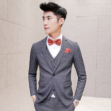 2016 Grey 3 Piece Tweed Suits Mens Suits Slim Fit Terno Dot Print Maillot Homme Nightclub Outfits Korean Groom Suits Trendy Pant