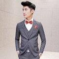 2016 Gris 3 Unidades Tweed Trajes Para Hombre Trajes Slim Fit Terno Dot Print Maillot Homme Discoteca Trajes Novio Coreano Trajes Pantalón de Moda