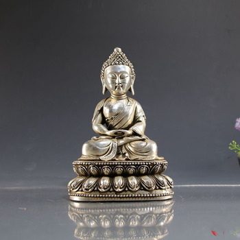 wedding decoration White copper plated silver Buddha statue decoration props crafts