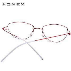 Image 2 - Montura de gafas de aleación de titanio de Ojos de gato sin tornillos para mujer, gafas graduadas para miopía, gafas coreanas de Dinamarca 98616