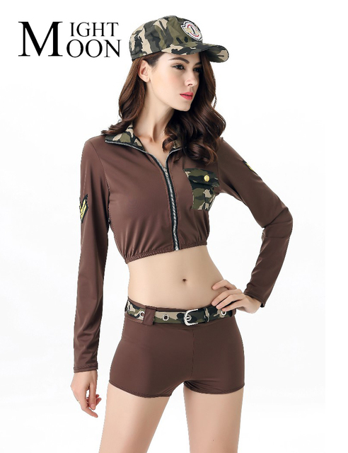 moonight hot sexy soldier army costumes women halloween camouflage military costumes - Halloween Army Costume