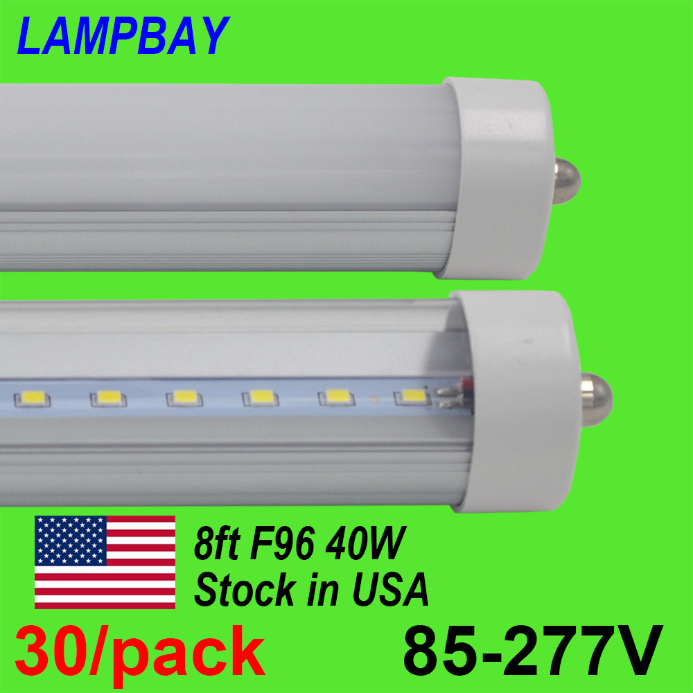 30/pack LED Tube Light 8FT T8 T12 F96 Fluorescent Retrofit Bulb 8 Feet FA8 Single Pin Light 40W 4400LM 110V-277V Stock In US