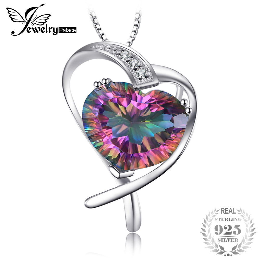 7ct Genuine Rainbow Fire Mystic Topaz Pendant Pure Solid 925 Sterling Silver Heart Love Fashion Romantic Jewelry For Women