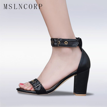 цена на Plus Size 34-48 New Fashion ankle strap women sandals Summer Open Toe square high heels sandal dress party shoes Gladiator Pumps