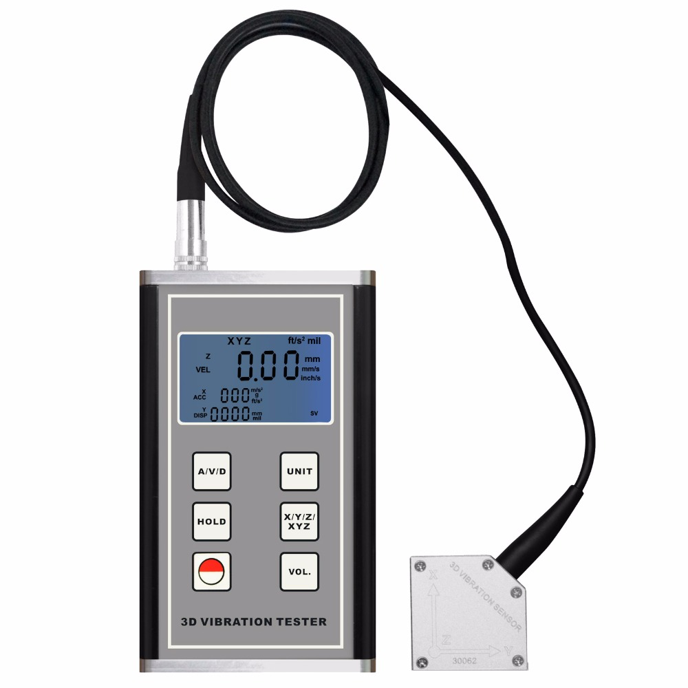 Digital Vibration Meter 3-Axis Piezoelectric Accelerometer Sensor Measures Periodic Motion Displacement Velocity Acceleration цены