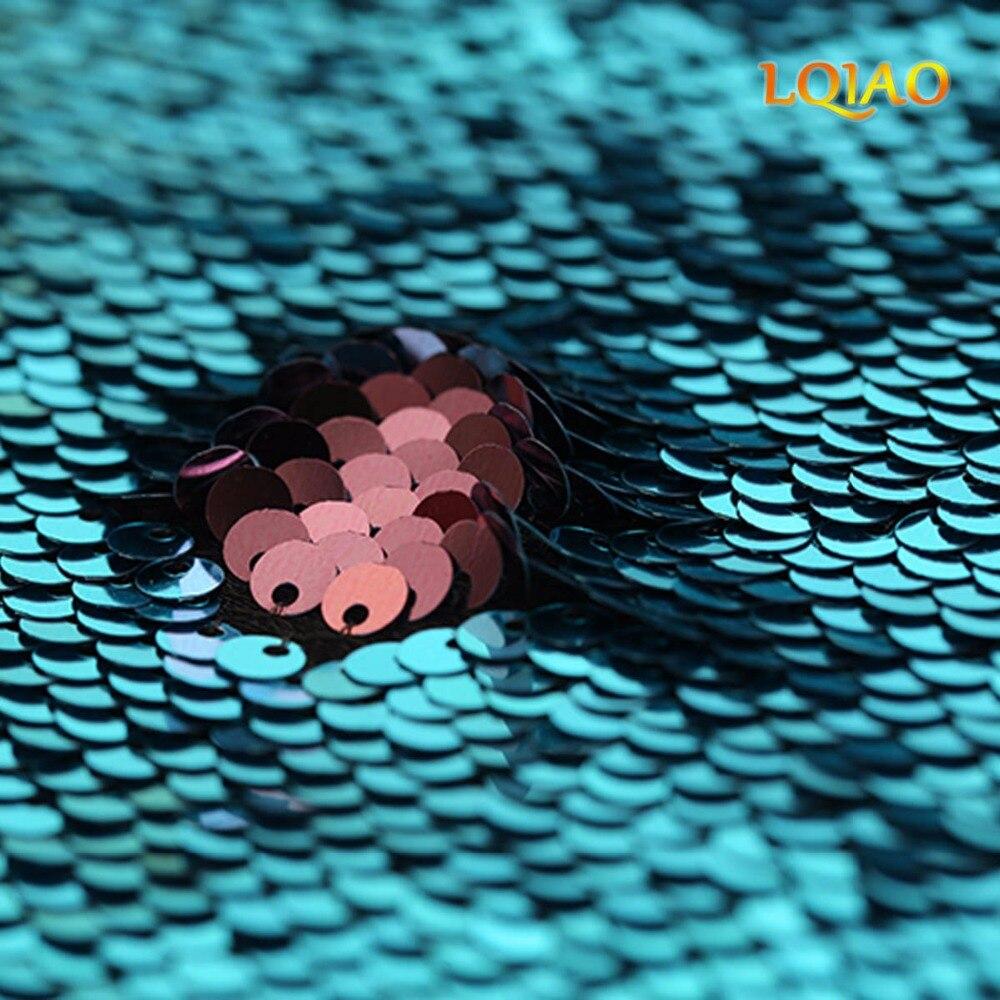 Новая бирюзово-розовая ткань с обратимой блестки от двора сетка двухцветная Русалка ткань для вечернего платья Свадебные инструменты для ш...