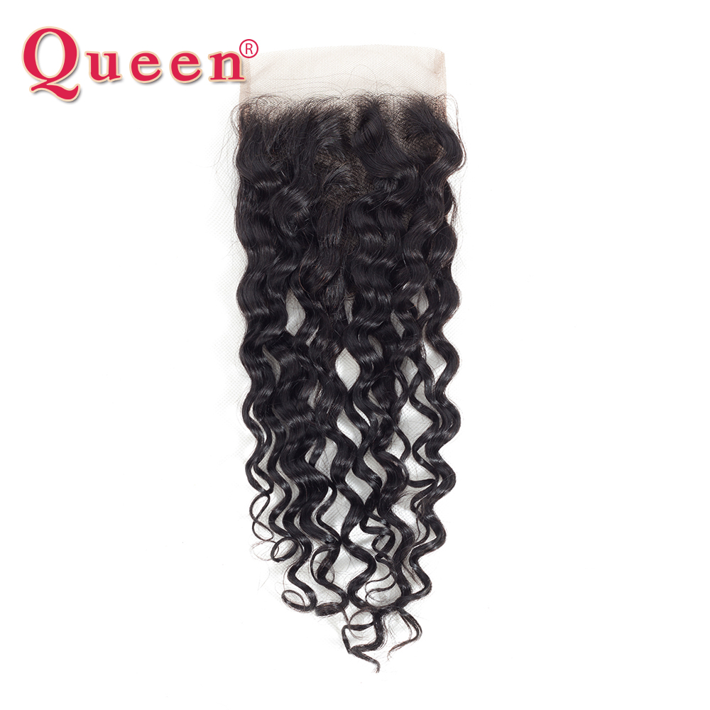 Queen Products Water Wave Closure With Baby Hair Brazilian 100% Remy Human Hair 4X4 Lace Closure Free/Middle Part Closure Hair