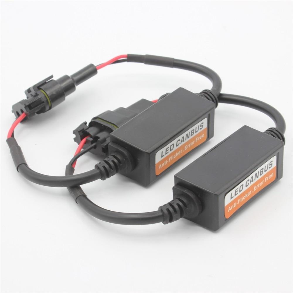2Pcs Socket HB3 9005 H10 HB4 9006 car Capacitor Error Free Load Resistor  led CANBUS Anti Flicker Decoder led headlight 9v~16v-in Headlight Bulbs  from