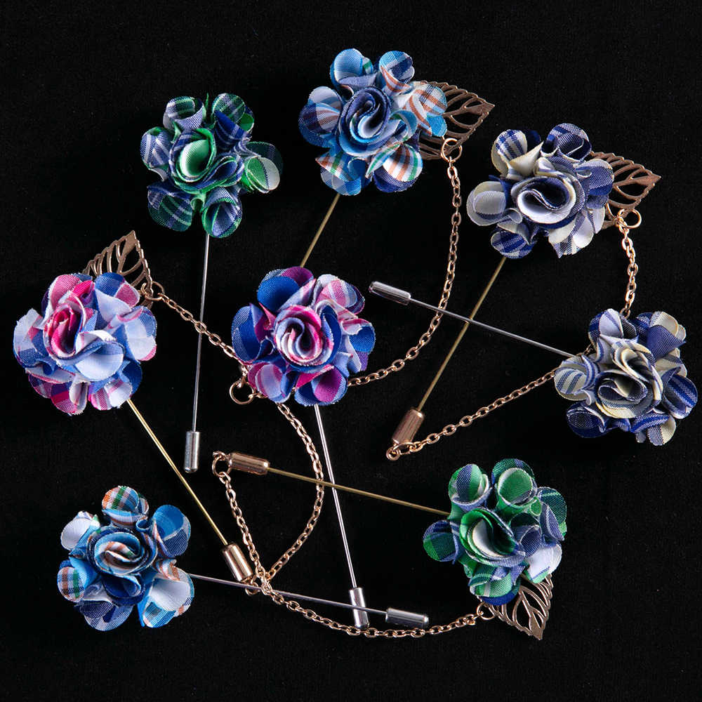 חייט סמית למעלה אופנה בד מעצב פרח דש פין חליפה Boutonniere מקל סיכות באיכות גבוהה Mens אביזרי 5 צבעים