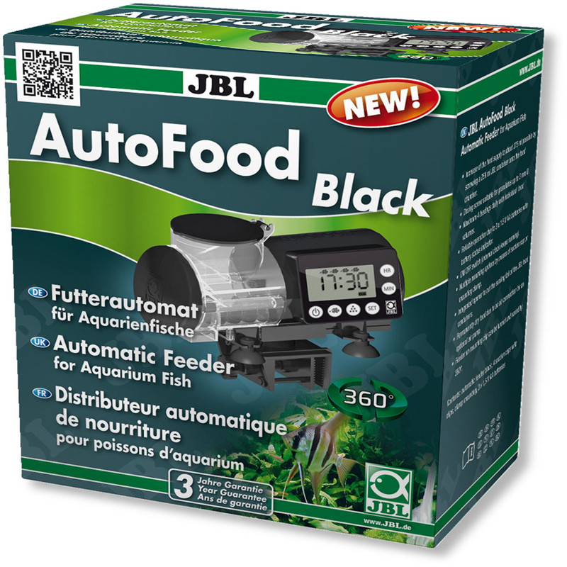 JBL auto feeder electronic LCD display digital programme fish food feed granules pellets aquarium white black