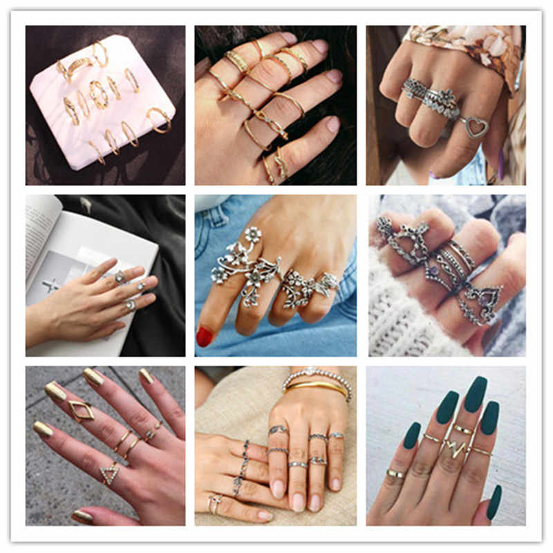 2019 Retro stone series of crystal multi pieces sets of rings hollowed moon waves cute loveheart irregular rings for female